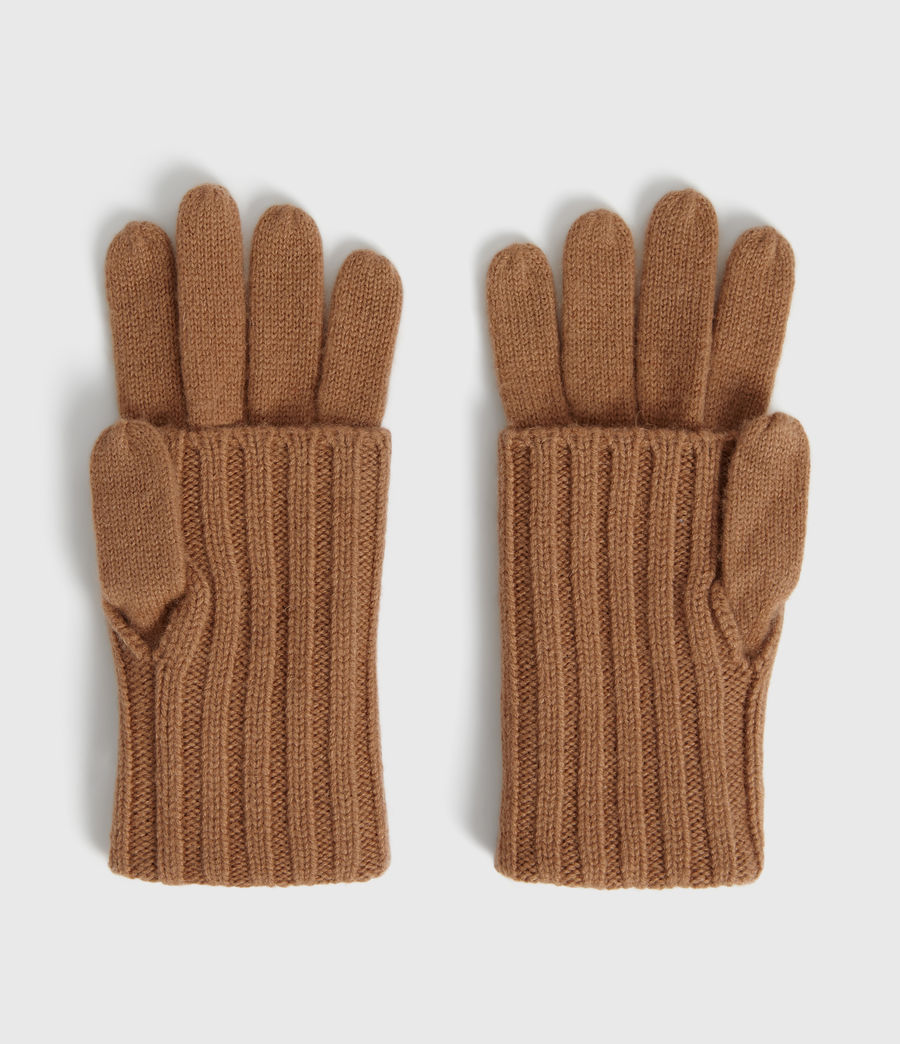 Womens Solid Rib Wool Gloves (toffee_brown) - Image 3