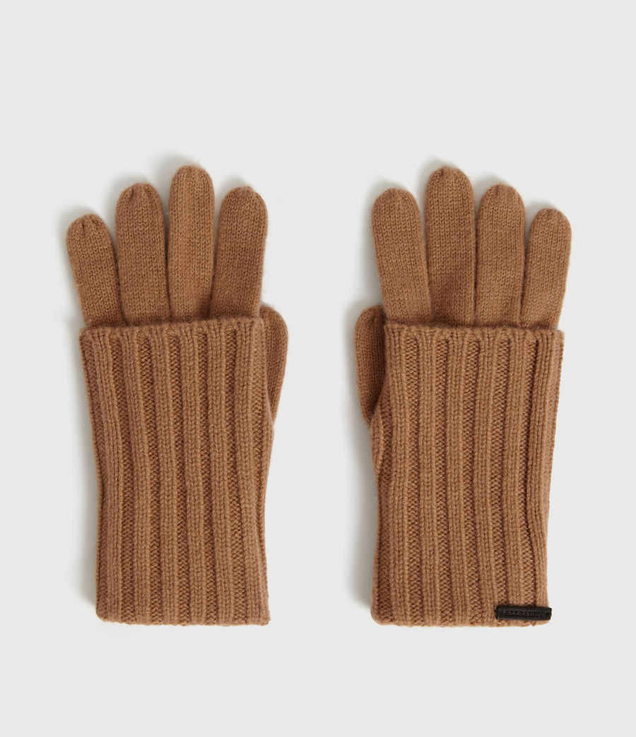 Womens Solid Rib Wool Gloves (toffee_brown) - Image 4