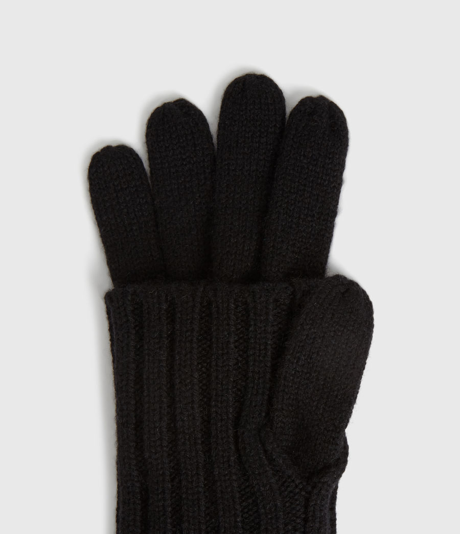 Women's Solid Rib Wool Gloves (toffee_brown) - Image 2