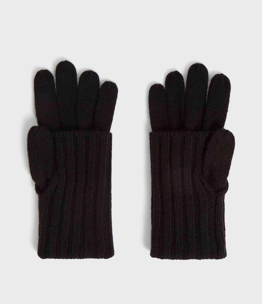 Women's Solid Rib Wool Gloves (toffee_brown) - Image 4