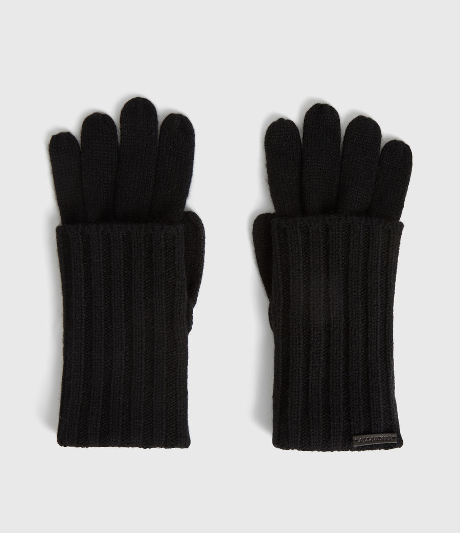 Women's Solid Rib Wool Gloves (toffee_brown) - Image 5