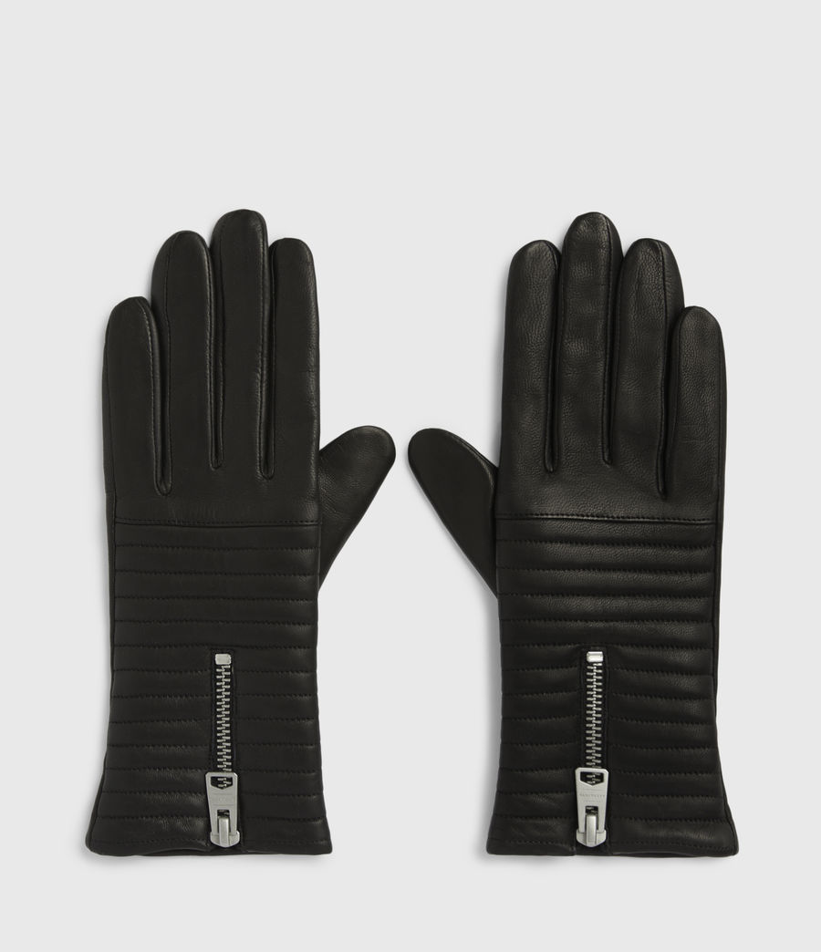 Womens Estela Leather Quilted Gloves (black) - Image 1