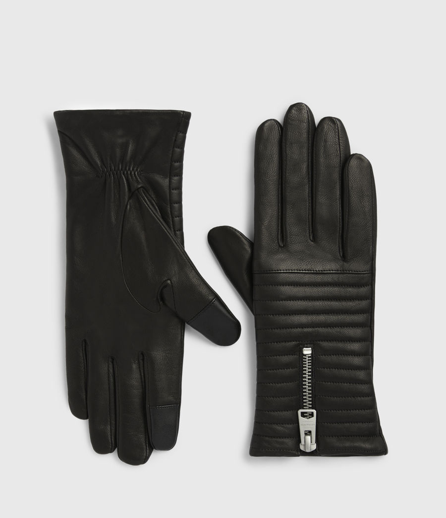 Womens Estela Leather Quilted Gloves (black) - Image 2