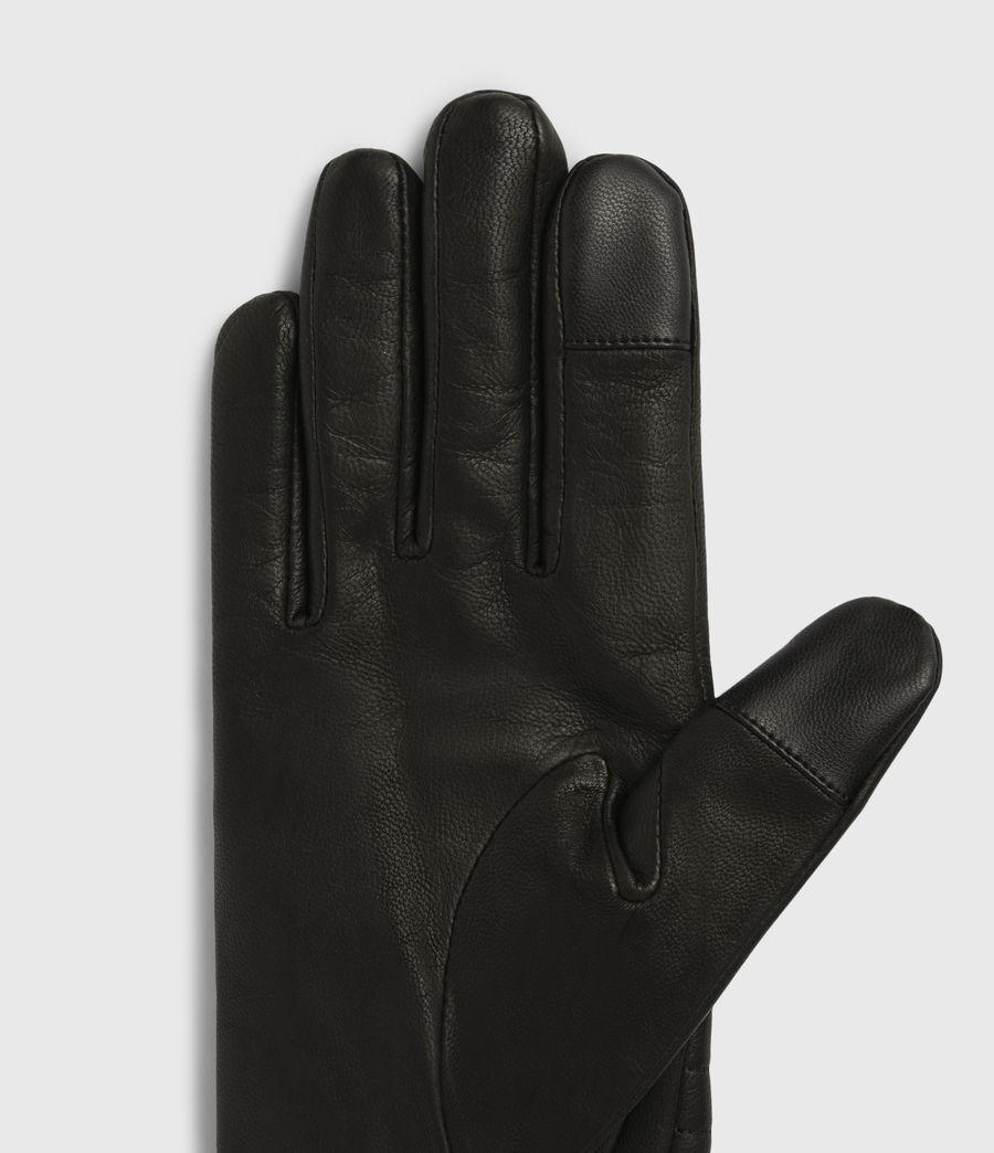 Womens Estela Leather Quilted Gloves (black) - Image 3