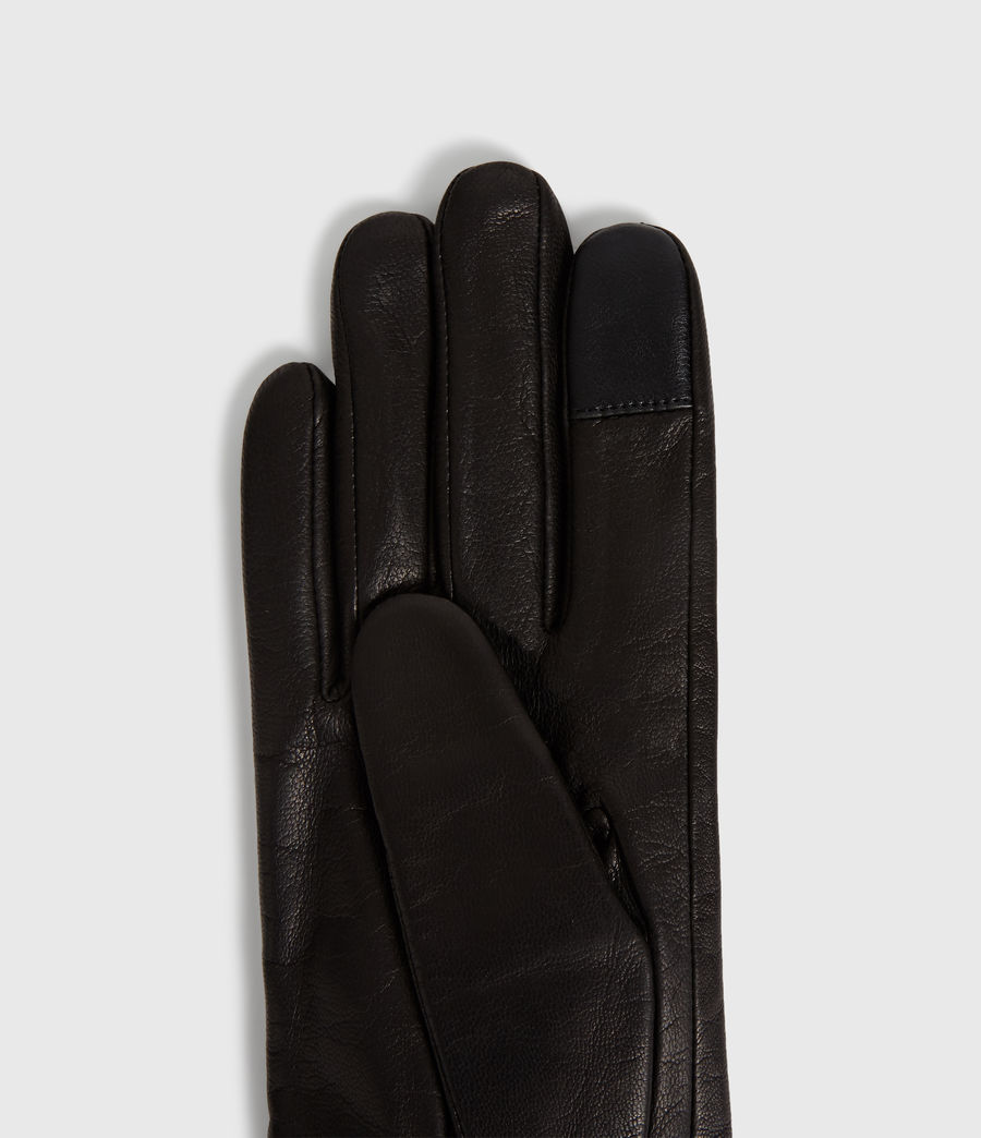 Womens Zipper Leather Touch Gloves (black) - Image 2