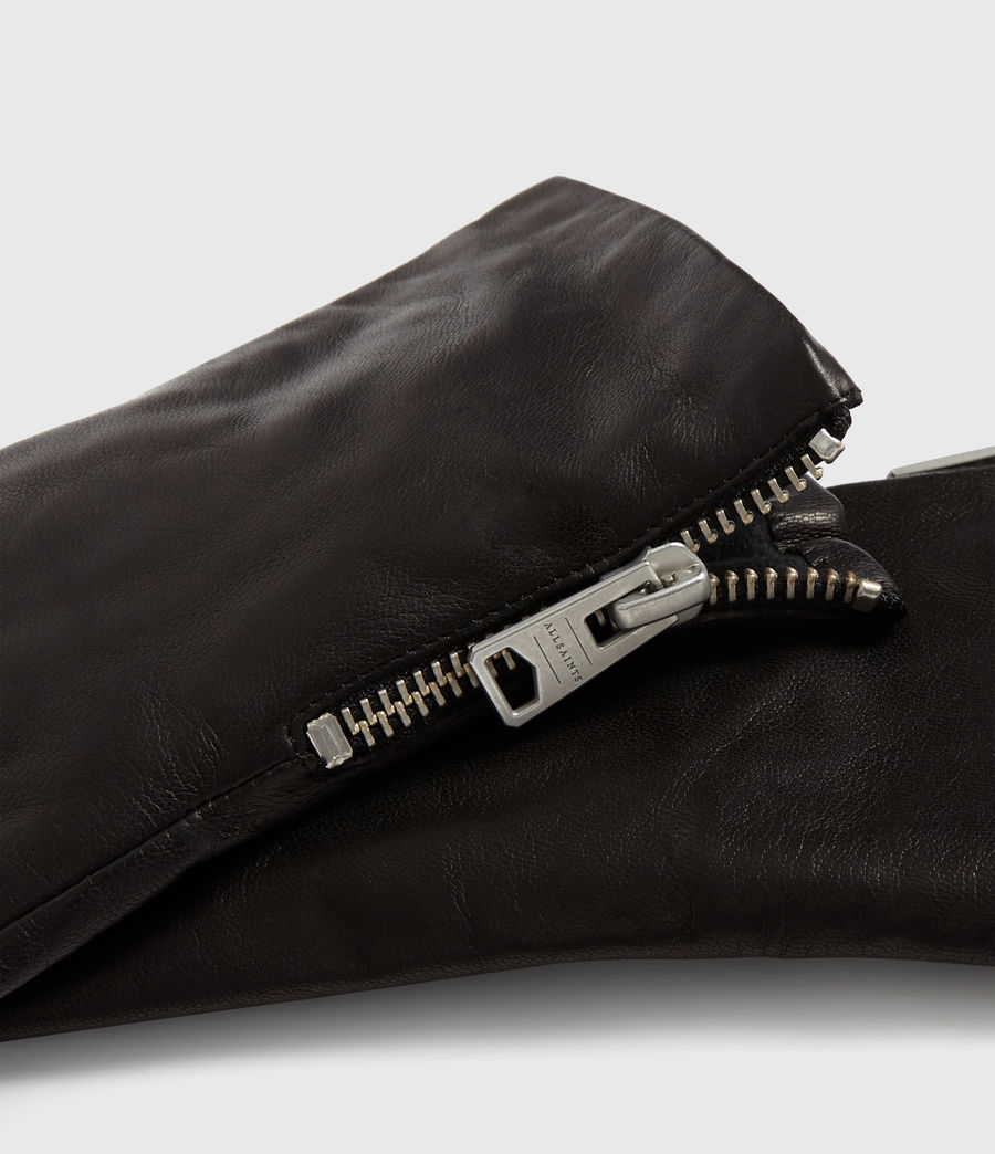 Womens Zipper Leather Touch Gloves (black) - Image 3