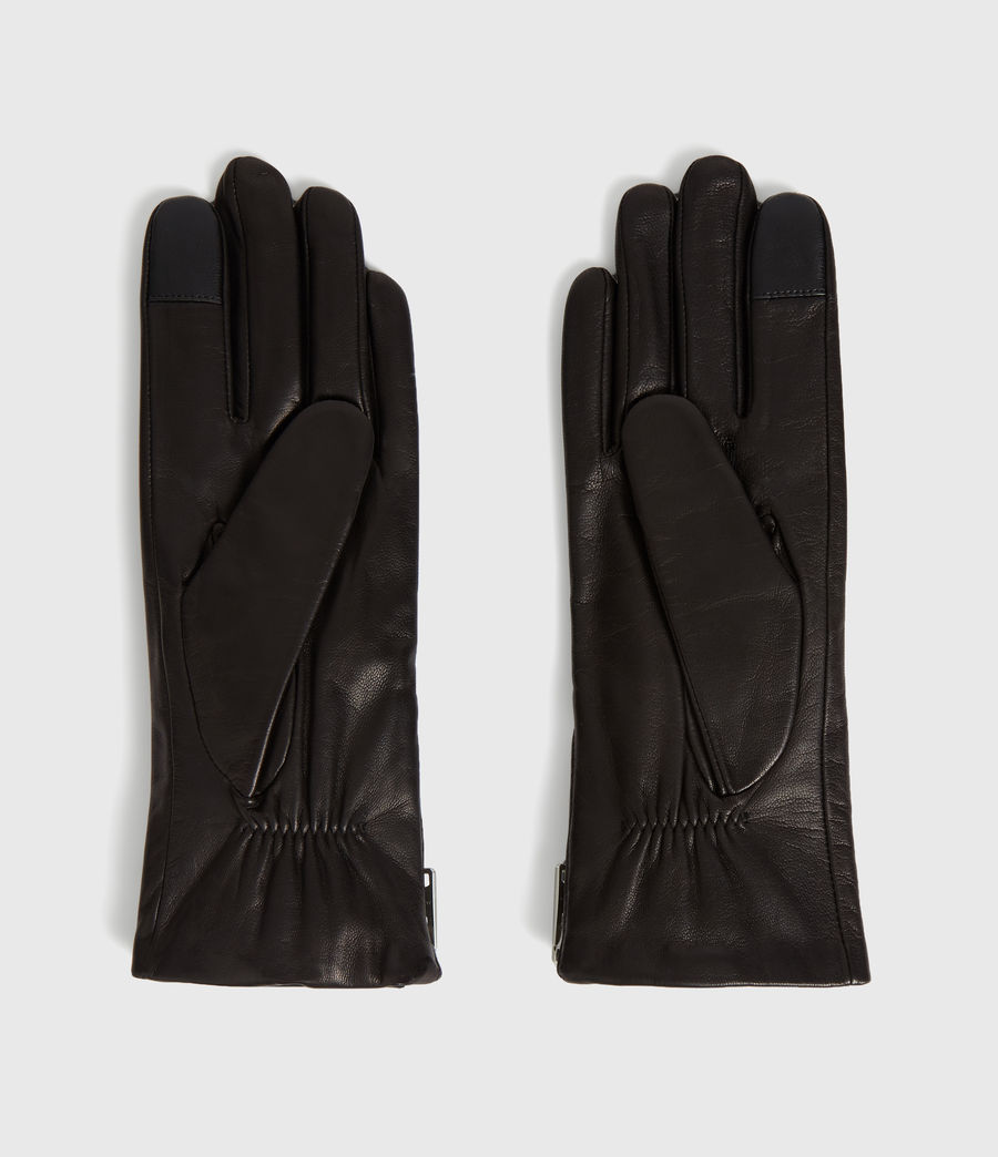 Womens Zipper Leather Touch Gloves (black) - Image 4