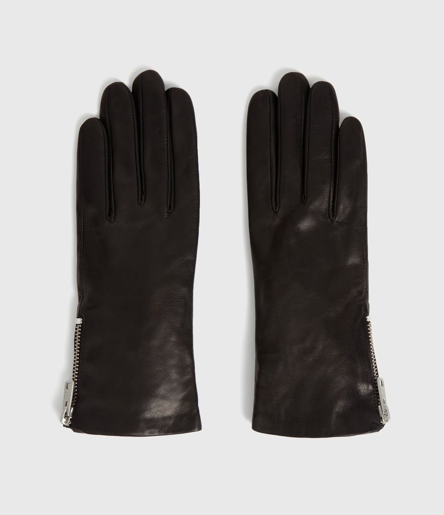 Womens Zipper Leather Touch Gloves (black) - Image 5