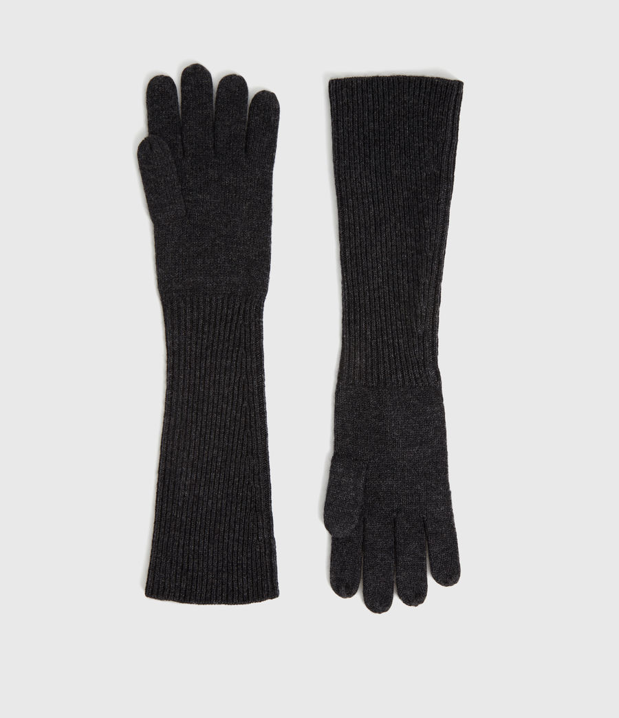 Mujer Guantes Largos de Lana y Cashmere Needle (charcoal) - Image 1