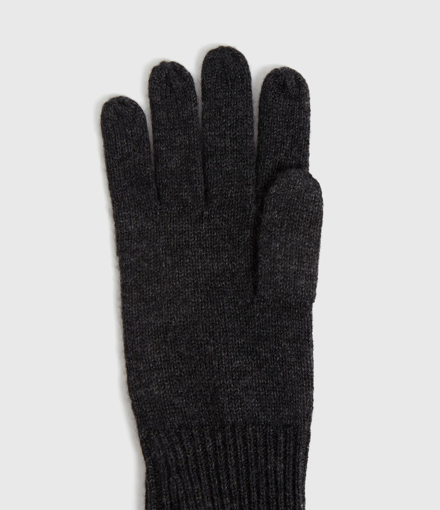 Women's Full Needle Cuff Cashmere Blend Gloves (black) - Image 2