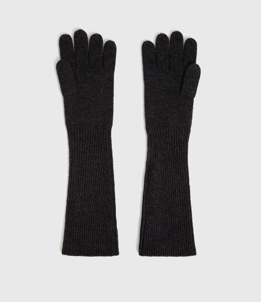 Women's Full Needle Cuff Cashmere Blend Gloves (black) - Image 4