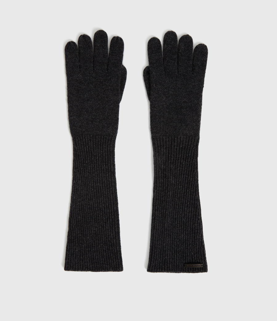Women's Full Needle Cuff Cashmere Blend Gloves (black) - Image 5