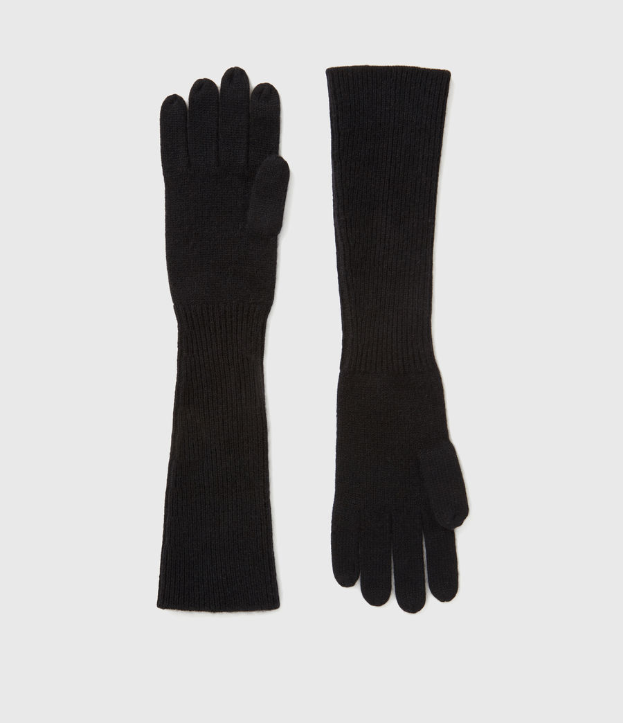 Womens Full Needle Cuff Cashmere Blend Gloves (black) - Image 1