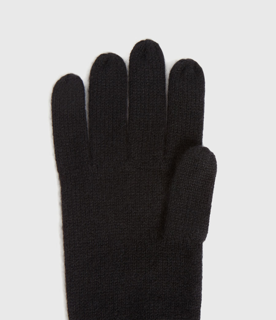 Womens Full Needle Cuff Cashmere Blend Gloves (black) - Image 2