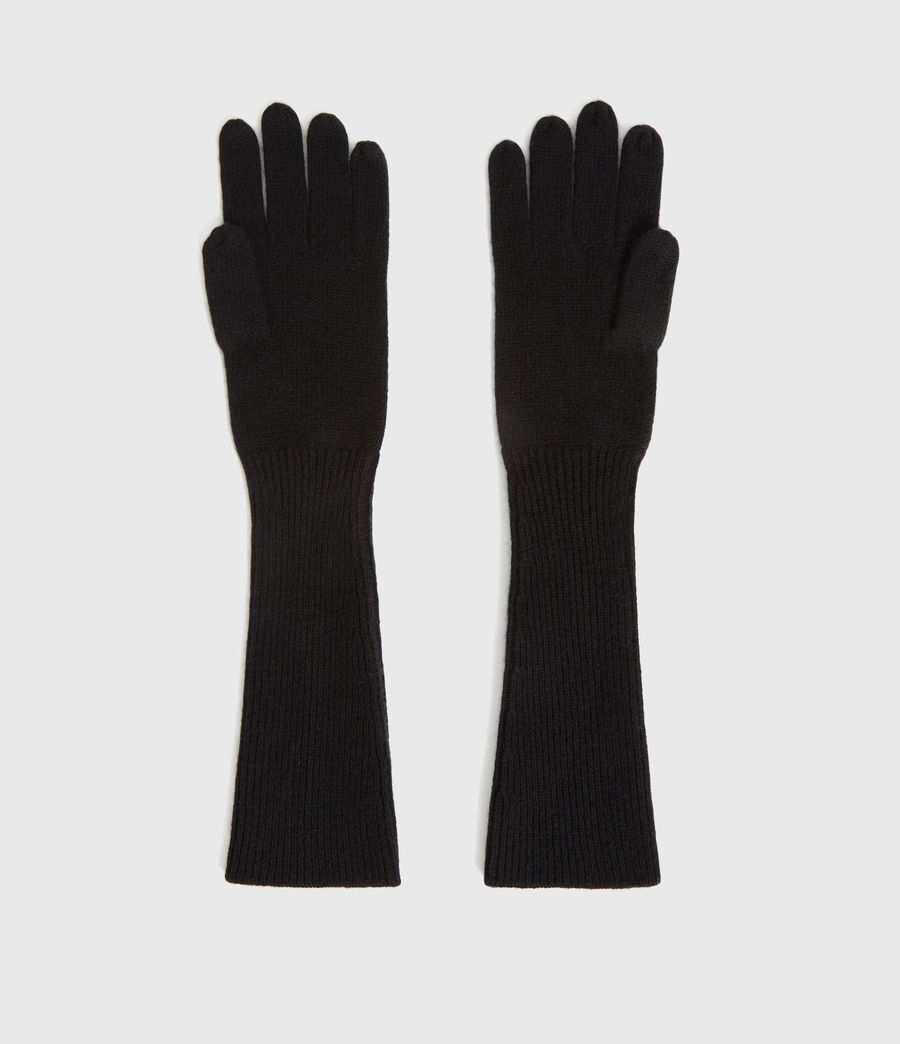 Womens Full Needle Cuff Cashmere Blend Gloves (black) - Image 4