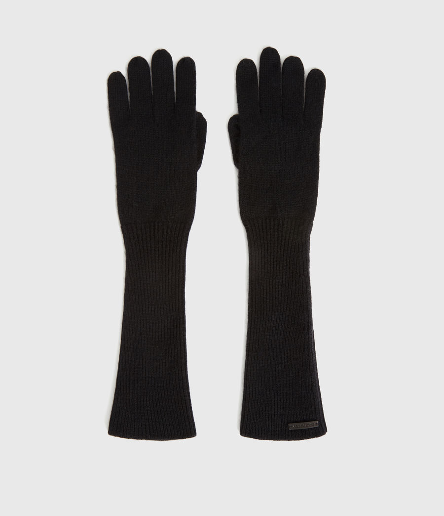 Womens Full Needle Cuff Cashmere Blend Gloves (black) - Image 5