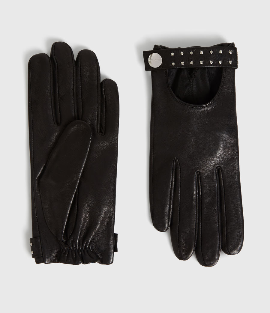 Womens Stud Driver Leather Gloves (black) - Image 1