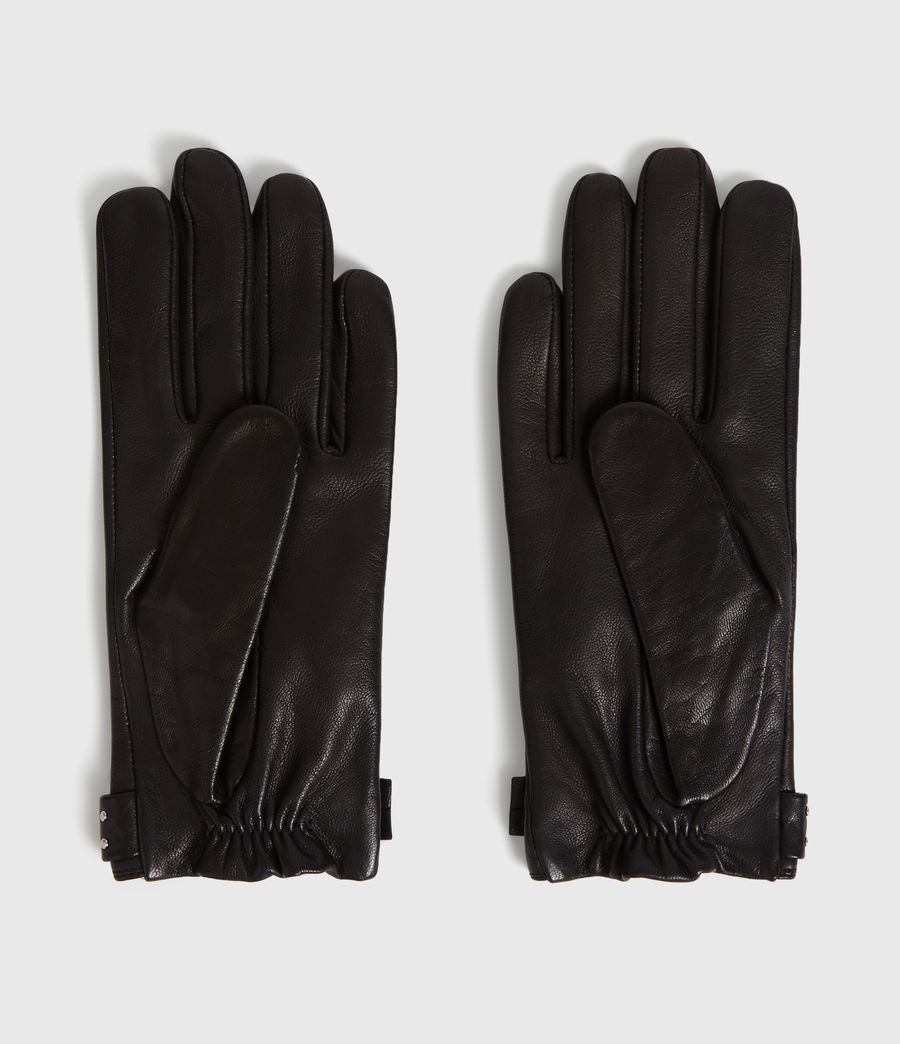 Women's Stud Driver Leather Gloves (black) - Image 2
