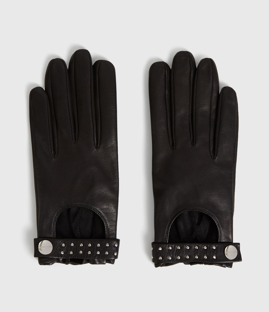 Womens Stud Driver Leather Gloves (black) - Image 2