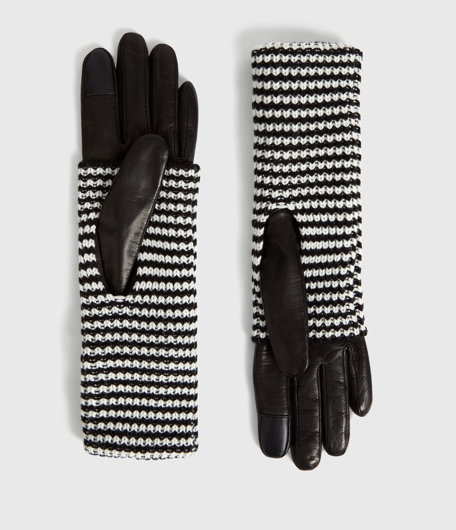 Womens Stripe Cuff Leather Gloves (cinder_black) - Image 1