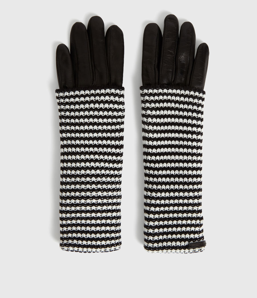Womens Stripe Cuff Leather Gloves (cinder_black) - Image 3