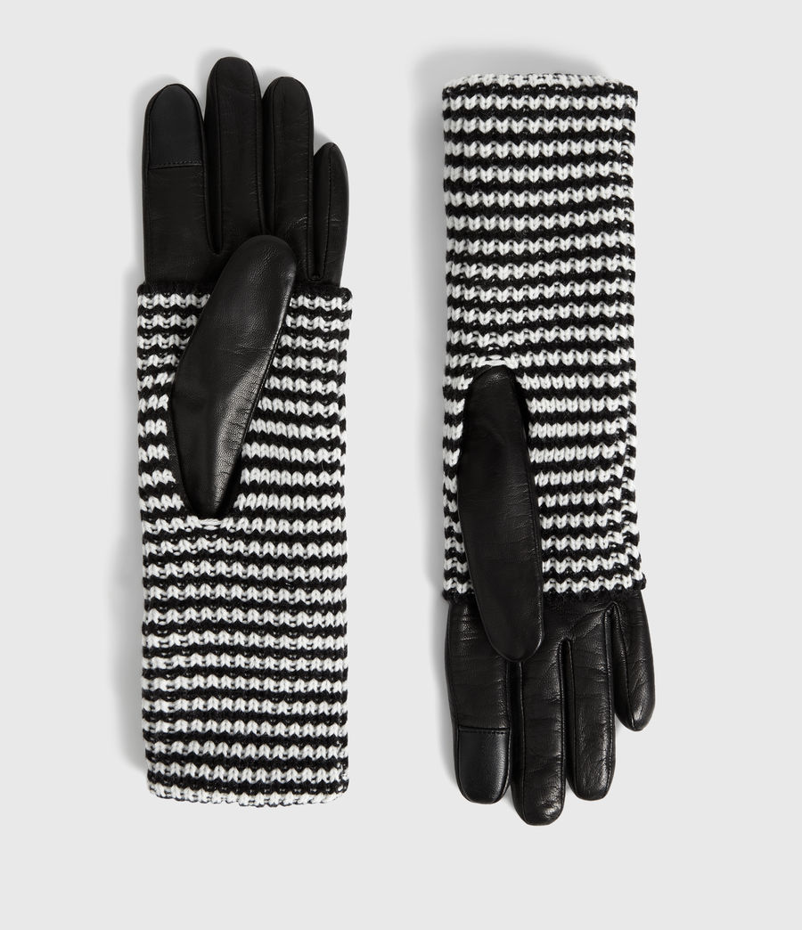 Mujer Guantes Largos en Piel y Lana Stripe (black) - Image 3