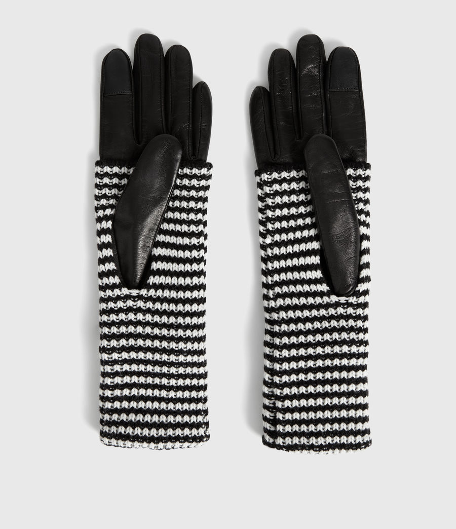 Womens Stripe Cuff Leather Gloves (black) - Image 2