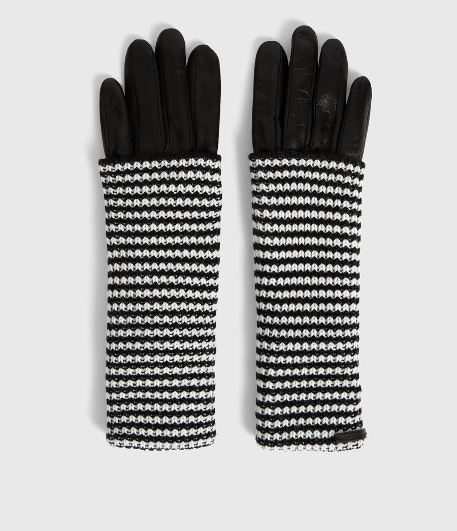 Womens Stripe Cuff Leather Gloves (black) - Image 4