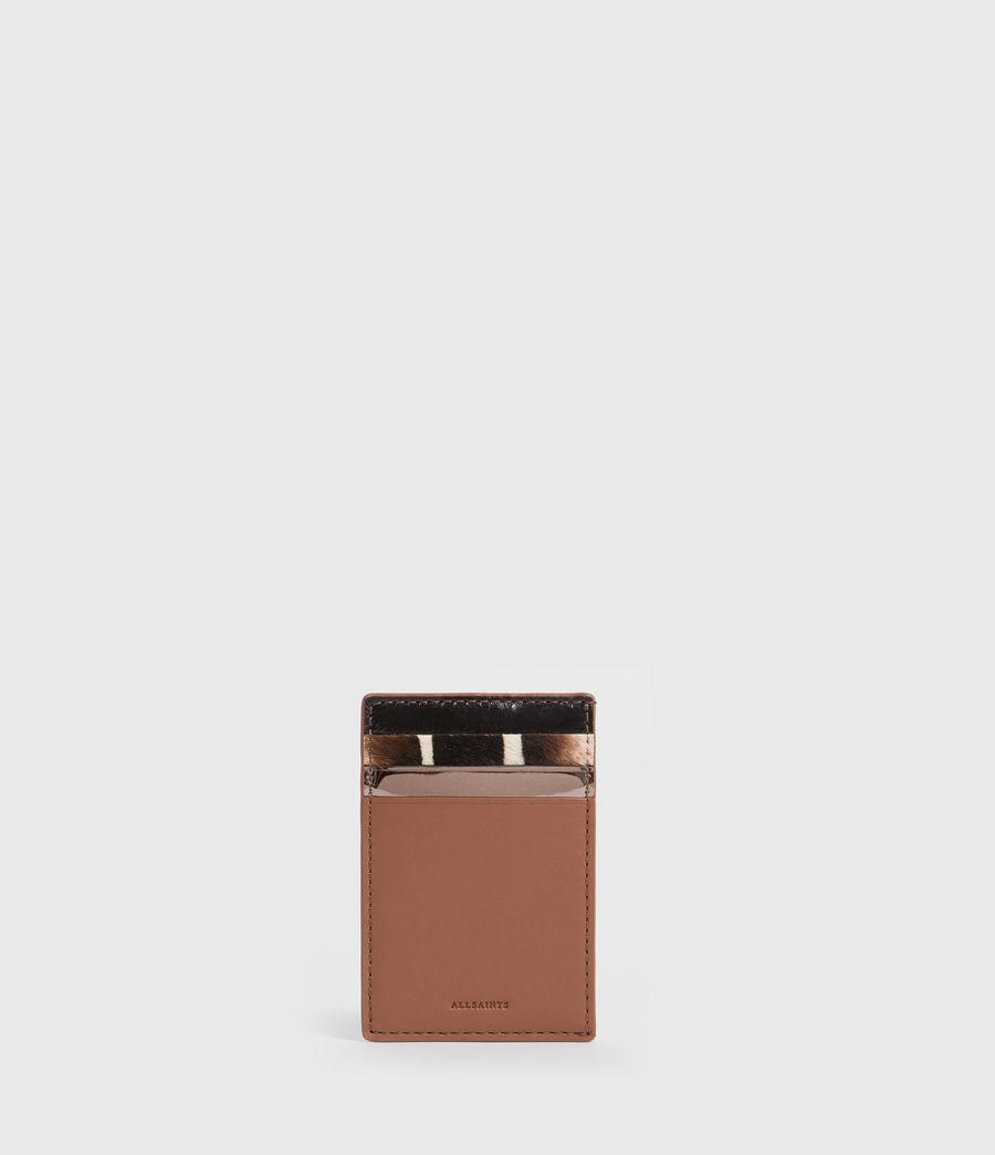 Women's Clip Multi Leather Cardholder (choco_brown_stripe) - Image 1