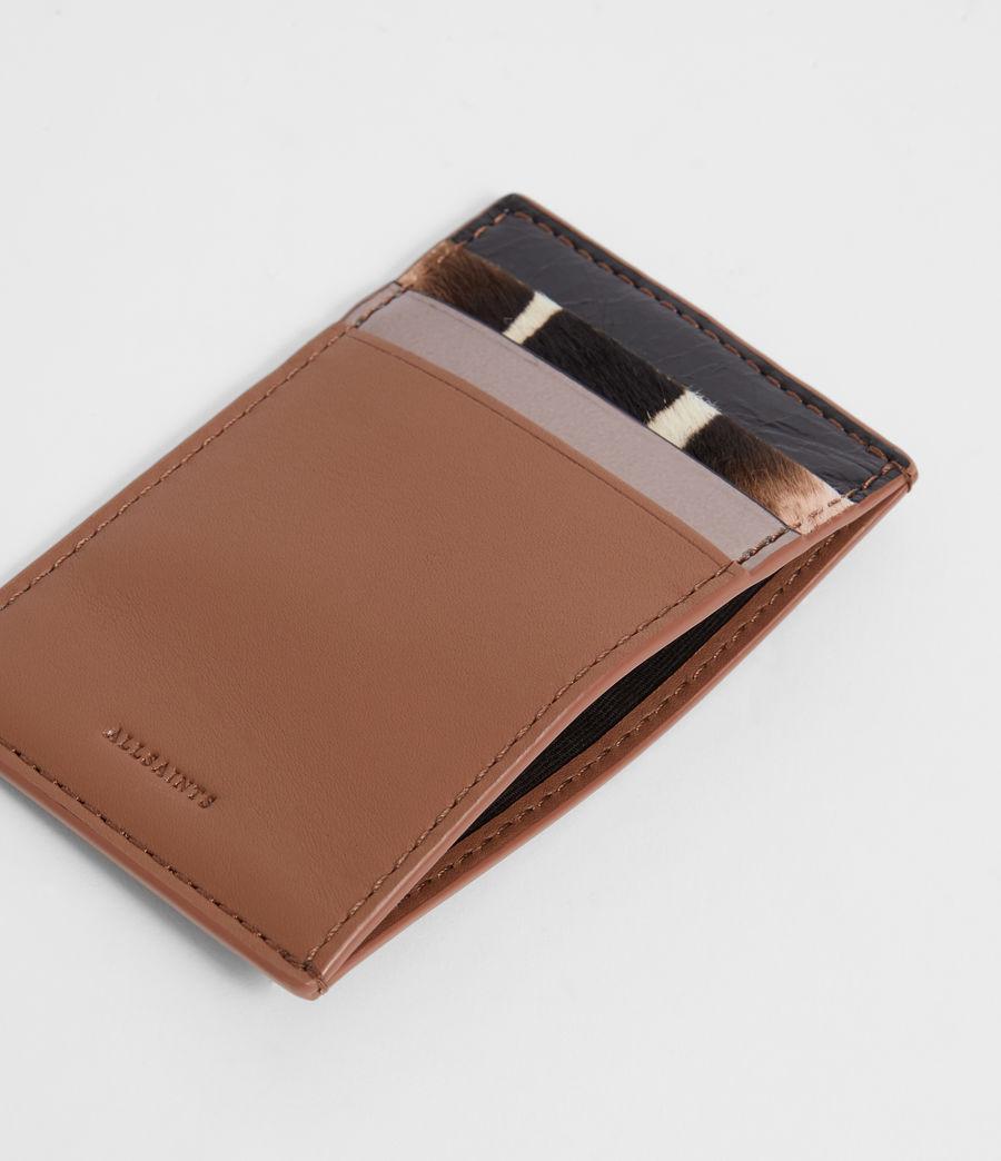 Women's Clip Multi Leather Cardholder (choco_brown_stripe) - Image 2