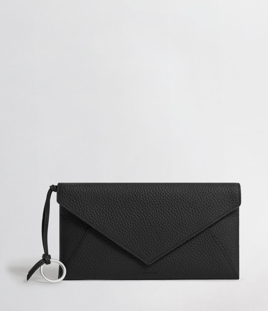 Mujer Voltaire Leather Envelope Clutch (black_dk_khaki) - Image 1
