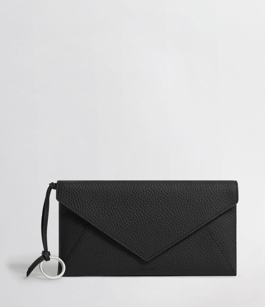Women's Voltaire Leather Envelope Clutch (black_dk_khaki) - Image 1