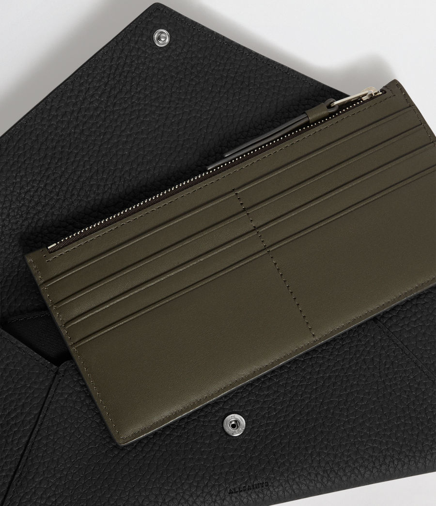 Mujer Voltaire Leather Envelope Clutch (black_dk_khaki) - Image 2