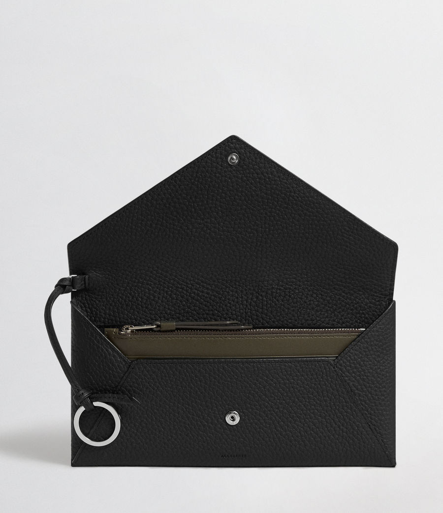 Mujer Voltaire Leather Envelope Clutch (black_dk_khaki) - Image 3