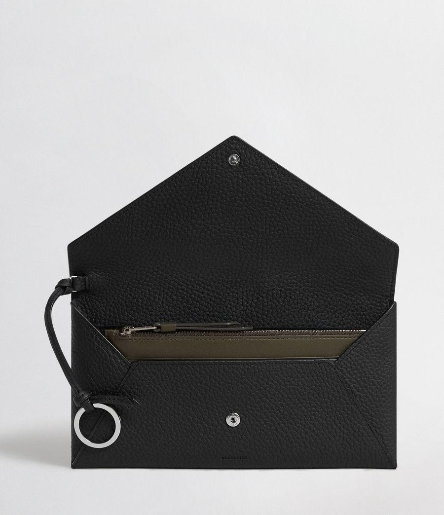 Women's Voltaire Leather Envelope Clutch (black_dk_khaki) - Image 3