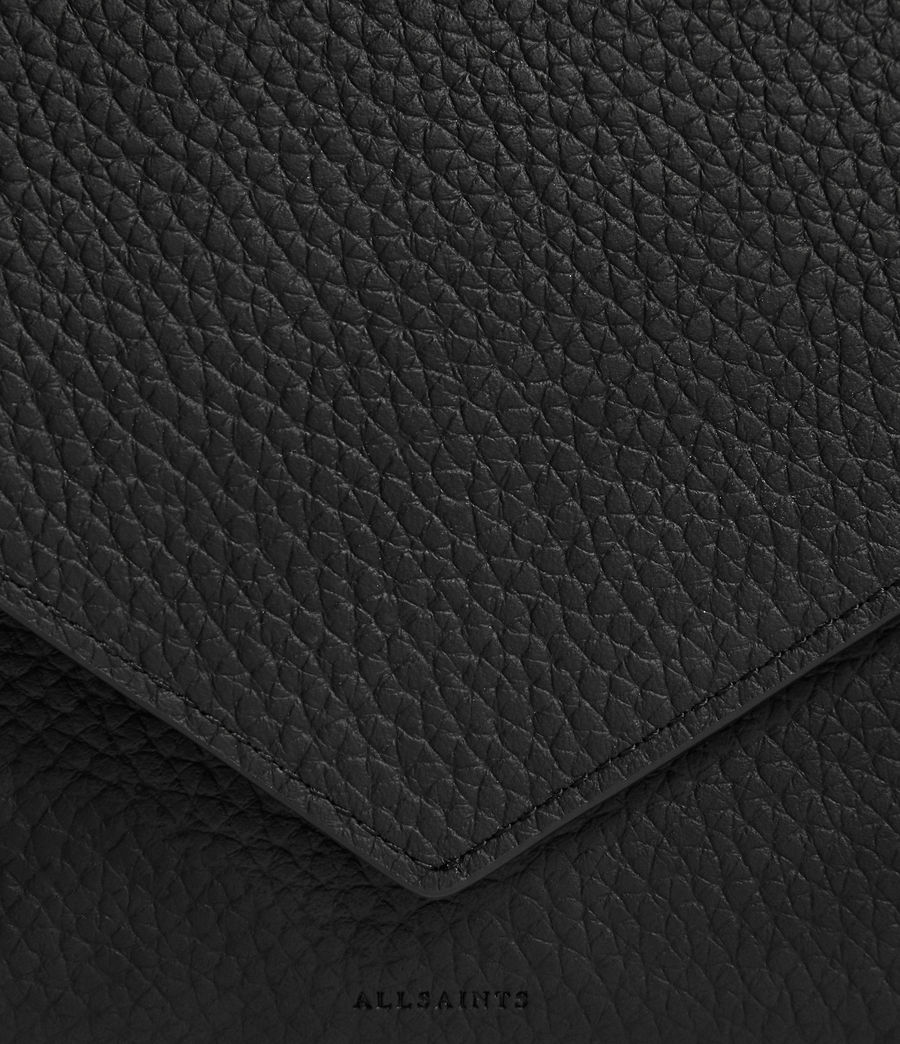 Mujer Voltaire Leather Envelope Clutch (black_dk_khaki) - Image 4