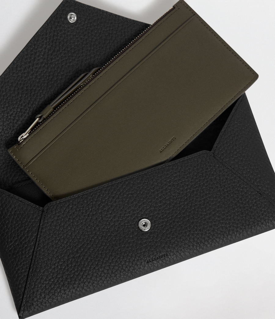 Mujer Voltaire Leather Envelope Clutch (black_dk_khaki) - Image 5
