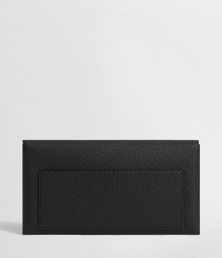 Mujer Voltaire Leather Envelope Clutch (black_dk_khaki) - Image 6