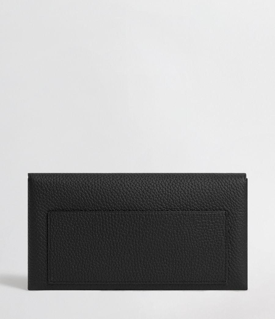 Women's Voltaire Leather Envelope Clutch (black_dk_khaki) - Image 6