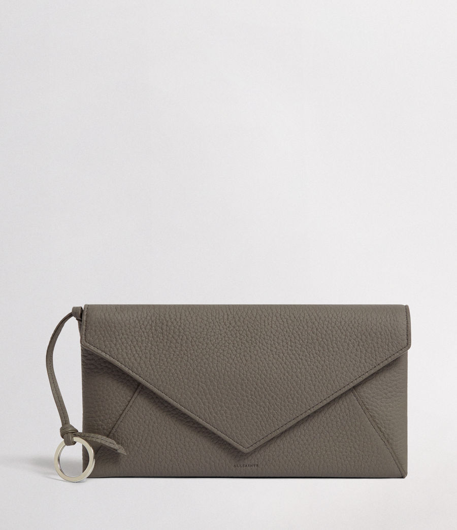 Women's Voltaire Leather Envelope Clutch (storm_grey_dk_blue) - Image 1