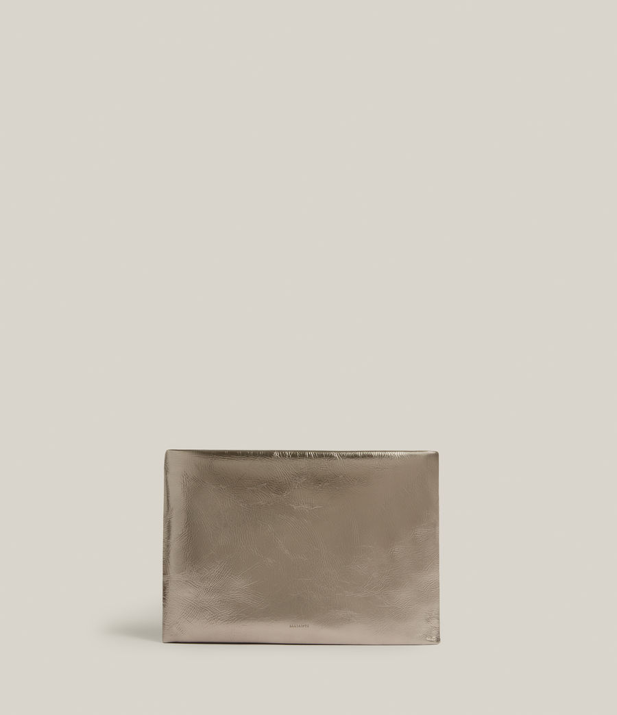 Femmes Bettina Leather Clutch Bag (silver) - Image 1