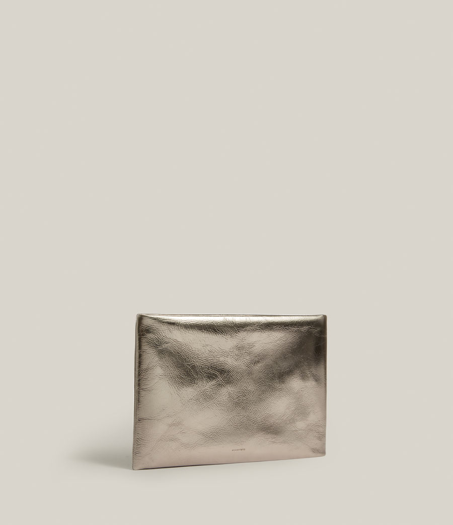 Femmes Bettina Leather Clutch Bag (silver) - Image 3