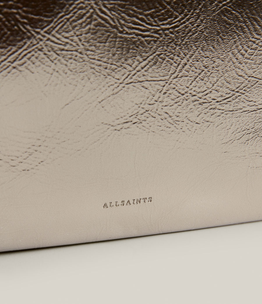 Femmes Bettina Leather Clutch Bag (silver) - Image 4