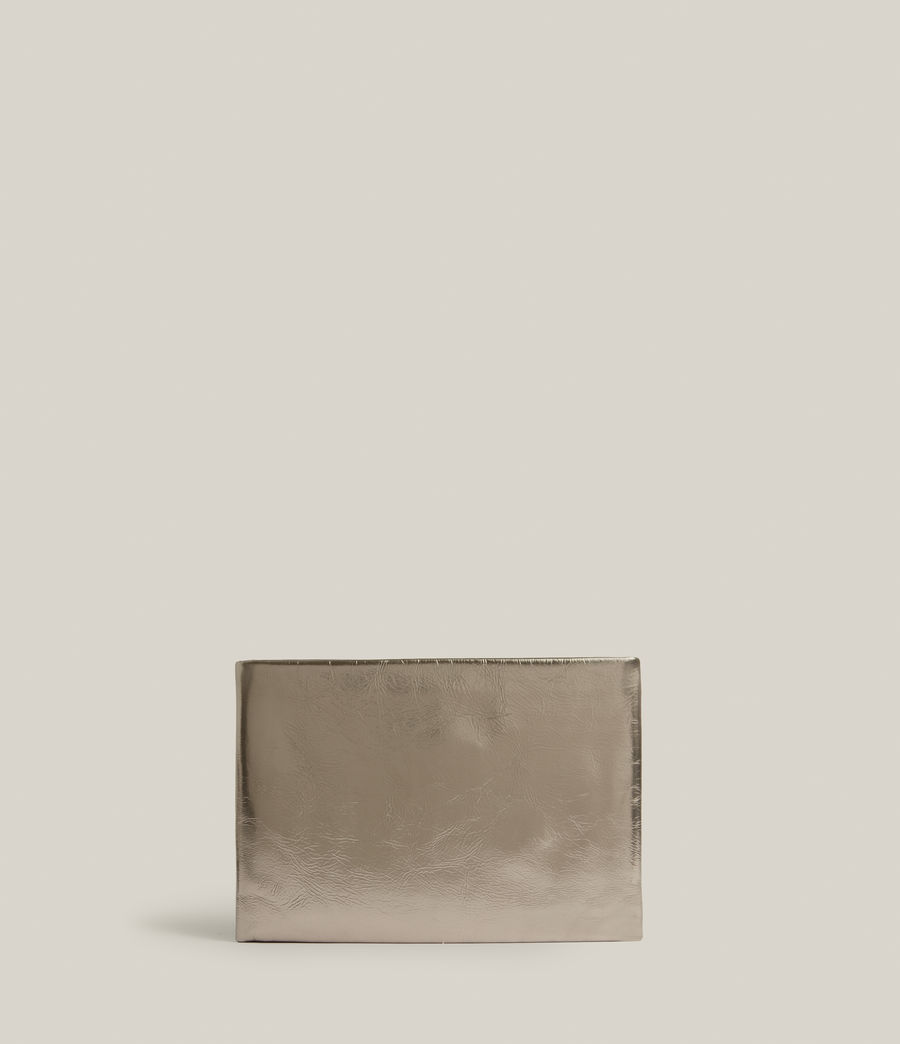 Femmes Bettina Leather Clutch Bag (silver) - Image 6