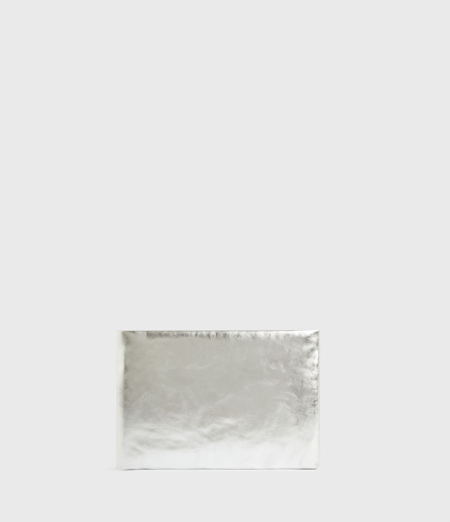 Femmes Bettina Leather Clutch Bag (silver) - Image 7