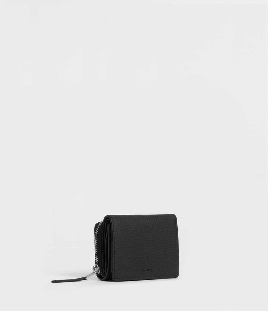 Womens Captain Small Leather Wallet (black) - Image 3