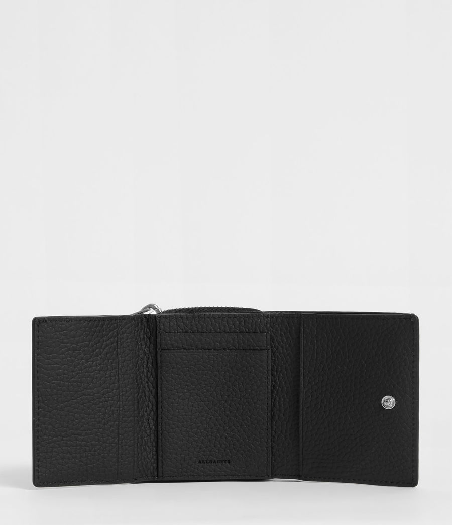 Womens Captain Small Leather Wallet (black) - Image 6