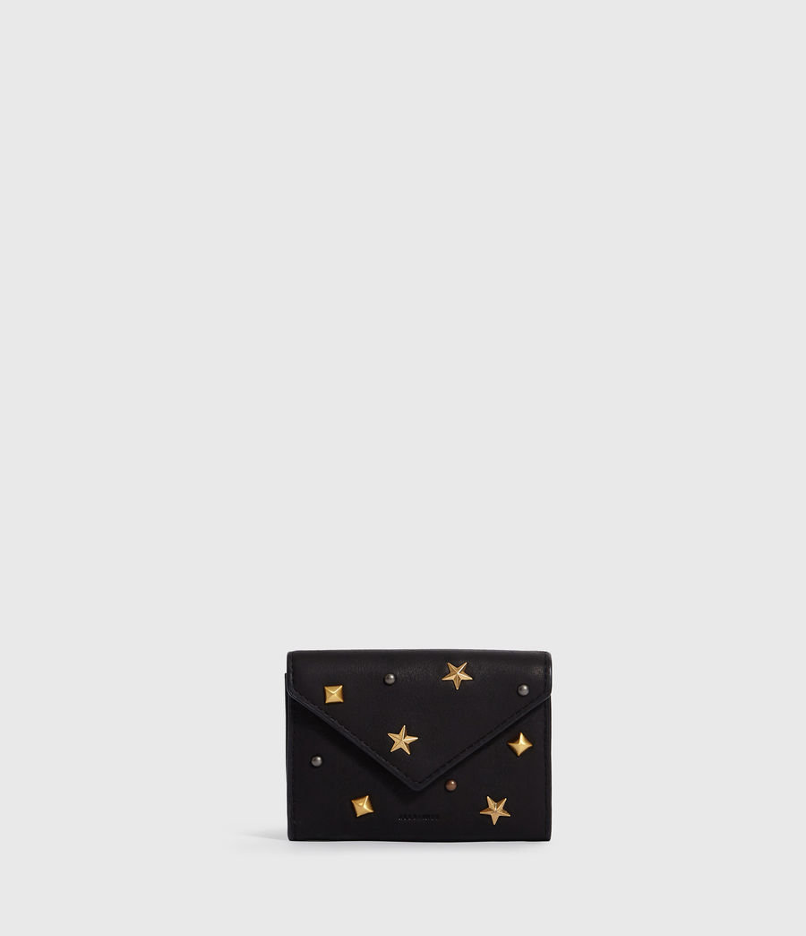 Women's Mazzy Flap Leather Cardholder (black) - Image 1