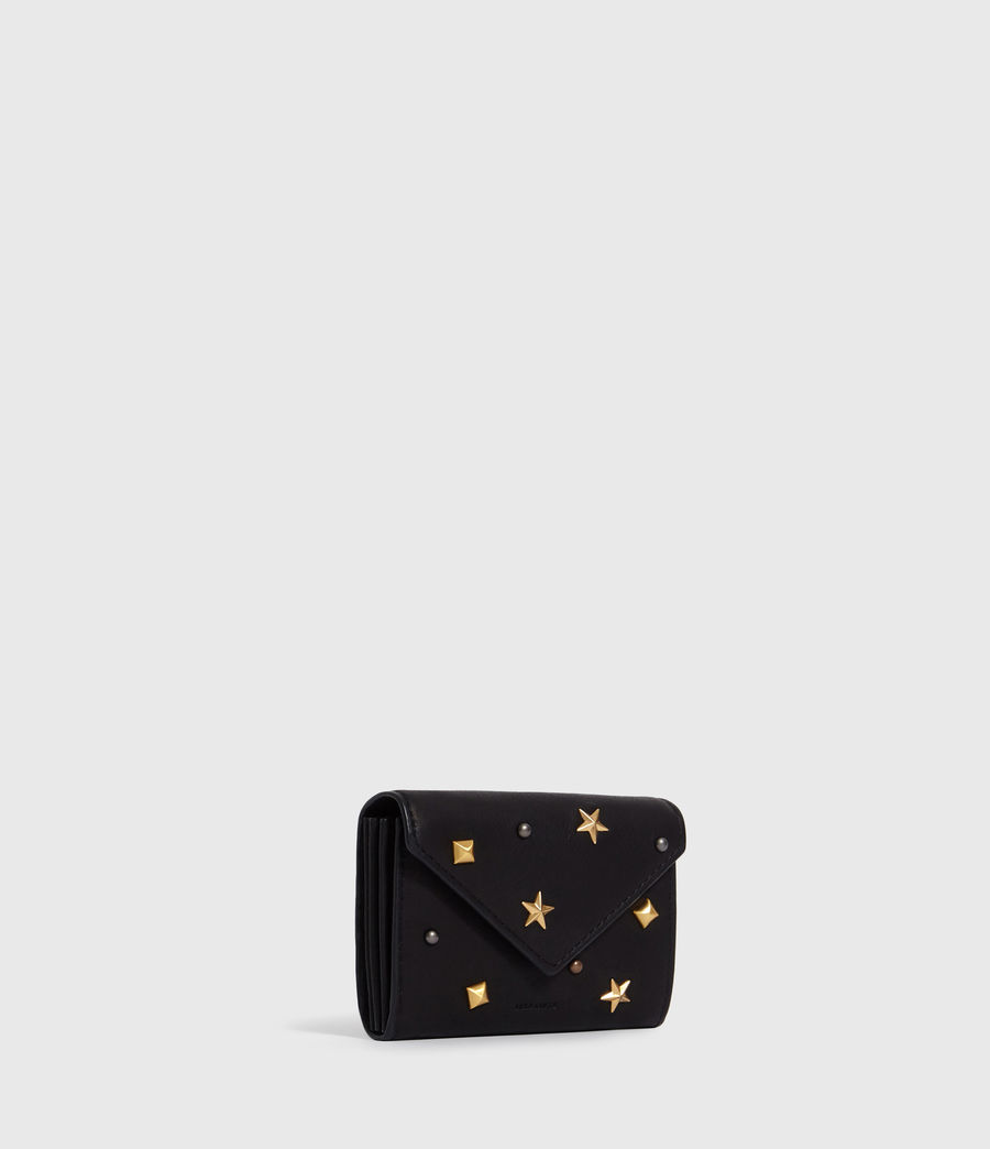 Women's Mazzy Flap Leather Cardholder (black) - Image 4