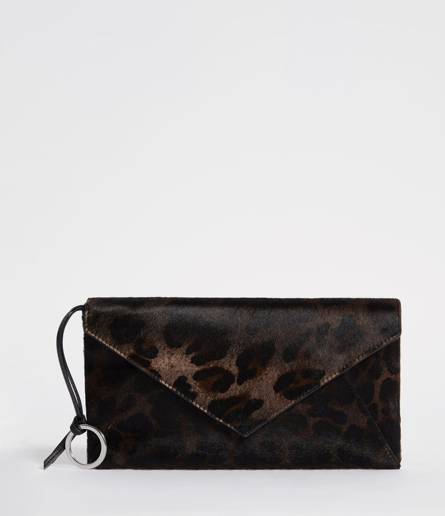 Womens Voltaire Leather Envelope Clutch (leopard_black) - Image 1